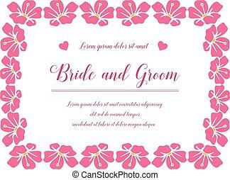 palefrenier, carte, frame., vecteur, gabarit, invitation, fleur rose, vendange, mariée