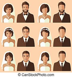 palefrenier, mariée, vecteur, portrait