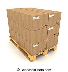 palette, boîtes, carton, fond blanc