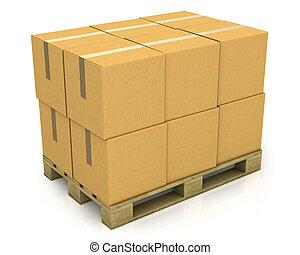 palette, boîtes, carton, pile
