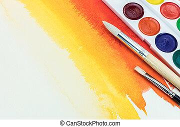 palette, couleur, brosses, différent, jaune, aquarelle, fond, rouges