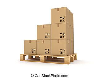 pallet., boîte, carton