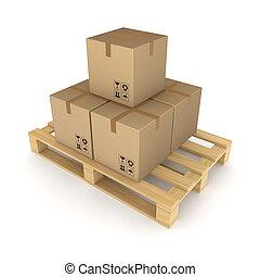 pallet., boîtes, carton