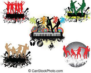 palm-grunge, concert, fond, sous