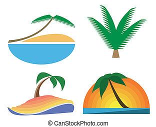palm-tree, tropique, vecteur, icons., symboles
