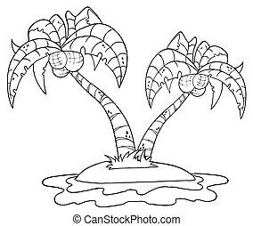 palmier, esquissé, île, deux