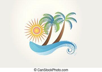 palmiers, exotique, soleil, été, vagues, logo