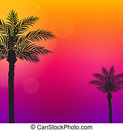 palmiers, illustration., fond, beau