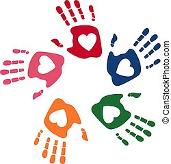 palms., soutien, uni, amitié, coloré, handprint., family., symbole, moderne, web., illustration, template., équipe, enfants, vecteur, propre, humain, logo, conception