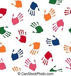 palms., soutien, uni, amitié, coloré, handprint., modèle, symbole, moderne, web., seamless, illustration, équipe, enfants, vecteur, humain, family., propre, conception
