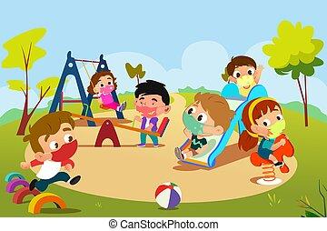 pandémie, cour de récréation, jouer, enfants, illustration, pendant