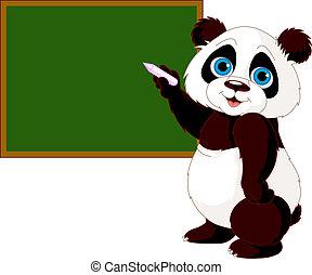 panda, écriture, tableau noir