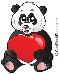 panda, coeur, dessin animé, rouges, tenue