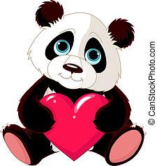 panda, coeur, mignon