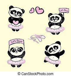 panda, girl, ballet, illustration, danseur, fond, ensemble, vecteur
