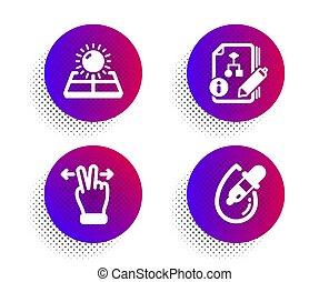 panels., geste, oeil, algorithm, énergie, swipe, vecteur, set., touchscreen, solaire, icônes, gouttes, projet, soleil, pipette., signe.