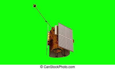 panels., screen., interplanétaire, solaire, deploys, station spatiale, vert