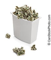 panier, argent, gaspillage