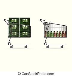 panier, bière, achats, bouteille, illustration