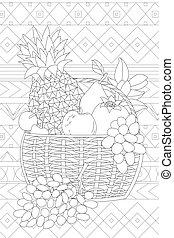 panier, colo, ton, frais, patchwork, modèle, fruits, contre