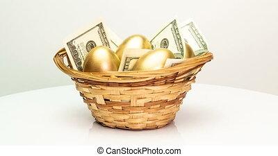 panier, concept., paques, investissement, dollars, doré, blanc, printemps, gros plan, rotation, arrière-plan., appareil photo, oeufs, retraite