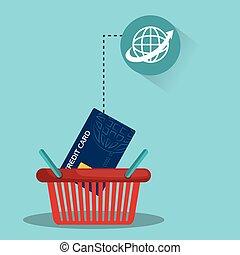 panier, crédit, achats, carte