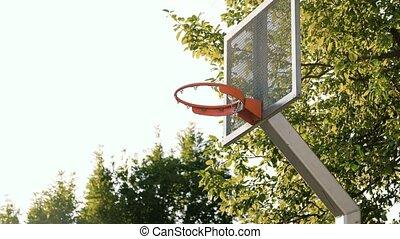 panier, dehors, cour de récréation, vieux, basket-ball