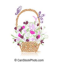 panier, fleurs, conception, ton