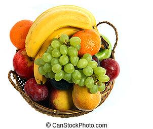 panier, fruit, au-dessus