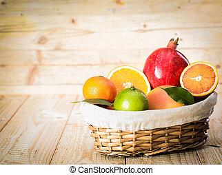 panier, fruit frais, délicieux, assorti