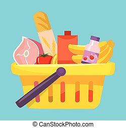 panier, nourritures, achats