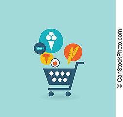 panier, nourritures, achats, composition, icônes