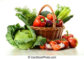 panier, osier, légumes