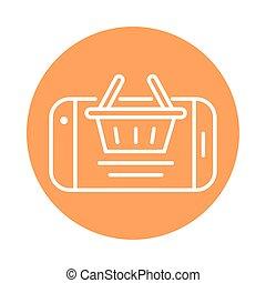 panier, style, cargaison, expédition, icône, livraison, ligne, bloc, smartphone