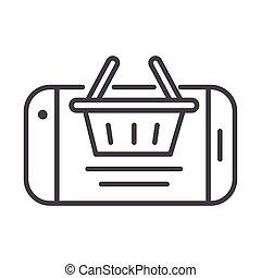 panier, style, ligne, cargaison, expédition, icône, livraison, ligne, smartphone