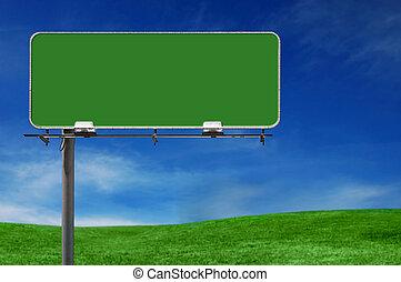 panneau affichage, autoroute, extérieur, faisant publicité signe