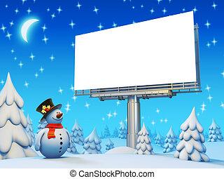 panneau affichage, bonhomme de neige, copyspace, série