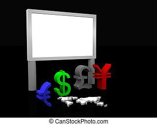 panneau affichage, devises, illustration, commercer