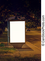 panneau affichage, gare routière, nuit, vide