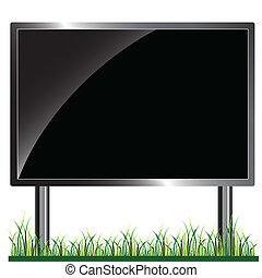 panneau affichage, vecteur, noir, illustration