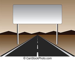 panneau affichage, -, vide, route