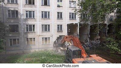 panneau, maison, vieux, traction, excavateur, bas, appartement