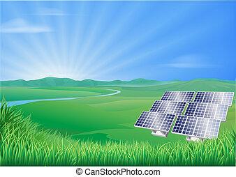 panneau, paysage, illustration, solaire