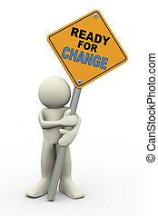panneau signe, prêt, 3d, changement, homme