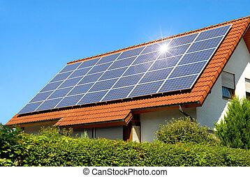 panneau, solaire, toit, rouges