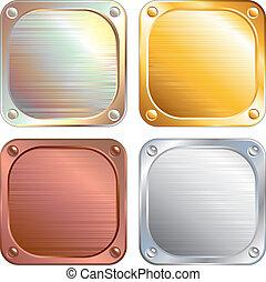 panneaux, carrée, métallique