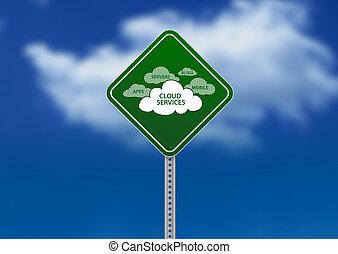 panneaux signalisations, nuage, services