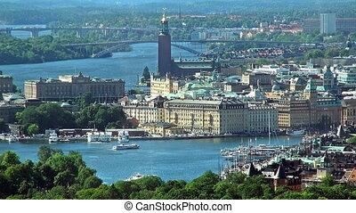 panorama, aérien, stockholm