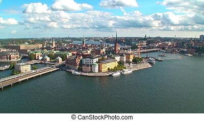 panorama, aérien, zoom, stockholm