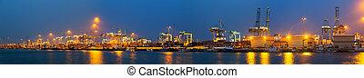 panorama, algeciras, industriel, port